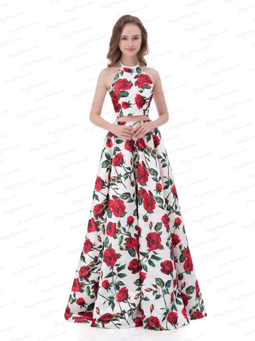 Chic Two Pieces Prom Dress A-line Halter Print Rose Prom Dress Evening Dress AX006