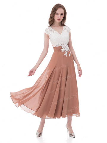 Chic A-line V-neck Cap Sleeve Chiffon Tea Length Prom Dress Bridesmaid Dresses AX007