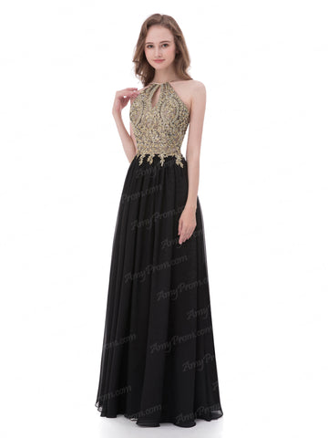 Chic Gold Prom Dress A-line Black Chiffon Lace Prom Dress Evening Dress AX008