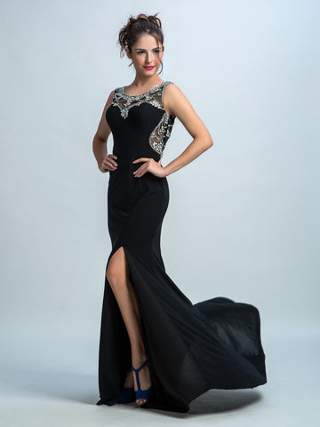 Black Prom Dresses, Sheath/Column Scoop Floor-length Chiffon Prom Dress/Evening Dress AMY009