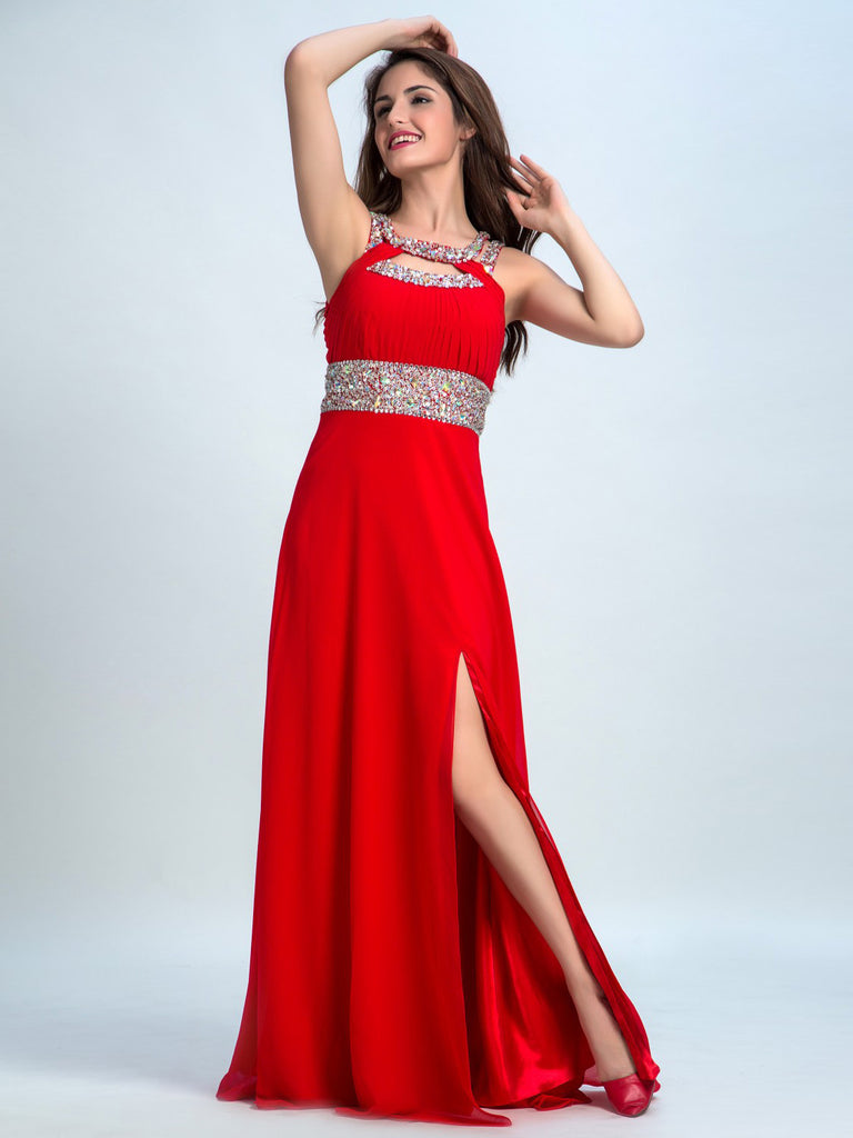 Cheap Prom Dresses Red, A-line Scoop Floor-length Chiffon Prom Dress/Evening Dress AMY039