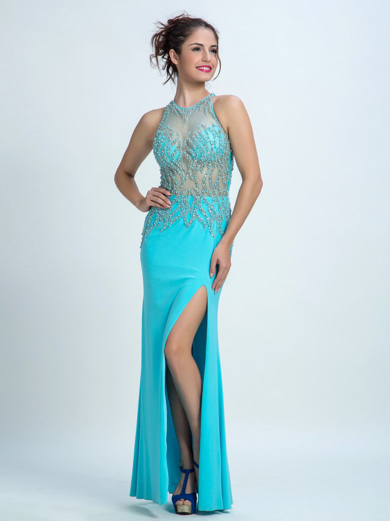 Cheap Prom Dresses, Sheath/Column Scoop Floor-length Chiffon Prom Dress/Evening Dress AMY007