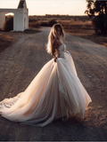 Chic A-line Sweetheart Tull Beading Amazing Rustic Wedding Dress WEK110