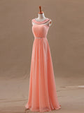 Chiffon Evening Dress, A-line Scoop Sleeveless Chiffon Prom Dresses With Beaded #FK947
