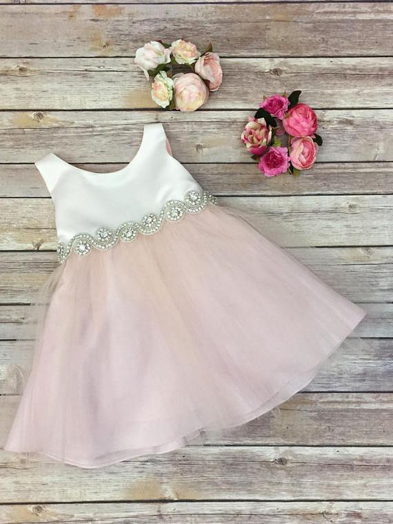 Cute Pink Knee-length Beaded Flower Girl Dresses With Bowknot FL002
