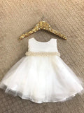 Cute White Knee-length Beaded Flower Girl Dresses With Bowknot FL003