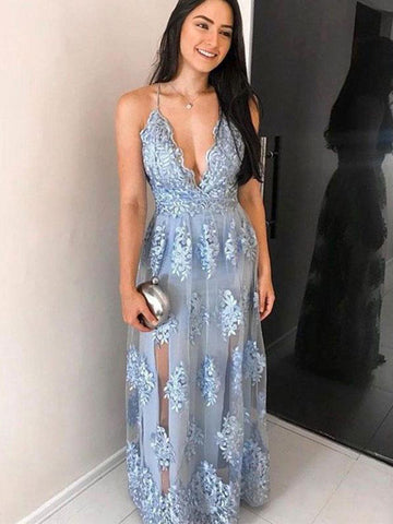 Spaghetti Straps Blue Lace Tulle Long Prom Dress Blue Lace Evening Dress JIDL001