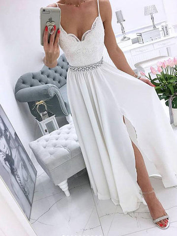 Spaghetti Straps White v Neck Chiffon Long Prom Dress White Evening Dress JIDL002
