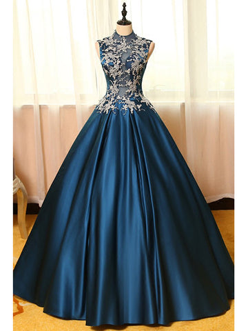 Ball Gown High Neck Floor-length Sleeveless Elastic Woven Satin Prom Dress/Evening Dress # AM280