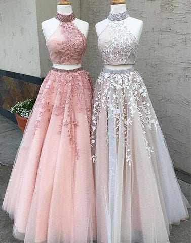 2018 A-line Two Pieces Long Prom Dresses Sleeveless Applique Prom Dress Evening Dresses JKL695