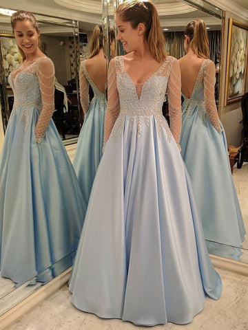 Chic Blue Prom Dresses Long A-line V neck Modest Cheap Prom Dress With Beading JX102