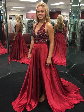 Chic Burgundy Prom Dresses Long Halter Modest Cheap Prom Dress With Beading JX106
