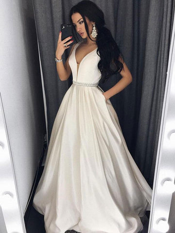 Chic Ivory Prom Dresses Long Halter Simple Cheap Prom Dress Evening Dresses JX107
