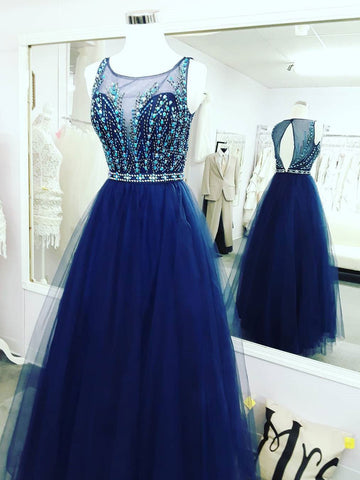 Chic Royal Blue Prom Dresses Long Scoop Modest Cheap Prom Dress Evening Dresses JX108