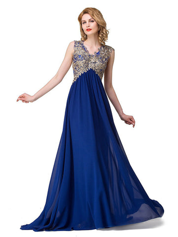 Chic Royal Blue Prom Dresses Long Empire V neck Cheap Prom Dress Evening Dresses JX109