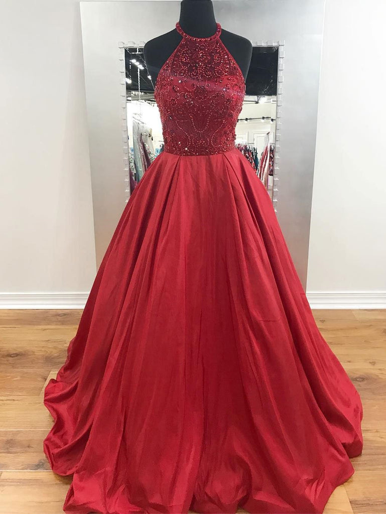 Chic Red Prom Dresses Long A-line Scoop Modest Cheap Prom Dress Evenin –  AmyProm d042f3c67