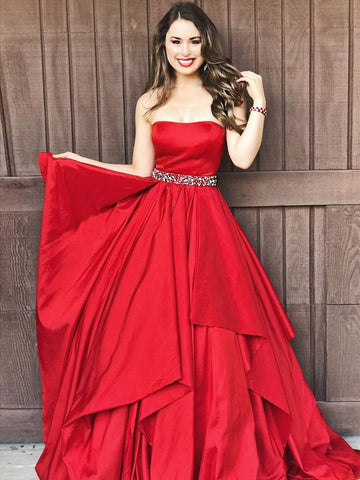 Chic Red Prom Dresses Long A line Strapless Cheap Prom Dress Evening Dresses JX115