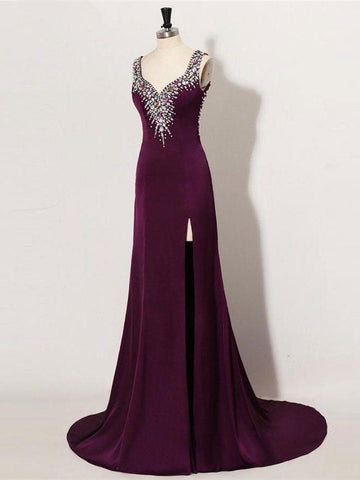 Chic Sheath/Column Prom Dresses Long Straps Modest Cheap Prom Dress With Beading JX117