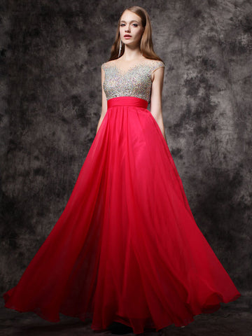 Chic Red Prom Dresses Long A line Scoop Beading Modest Prom Dress Evening Dresses JX121