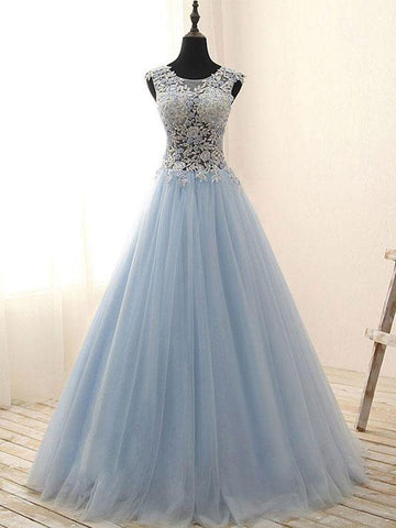 Chic A-line Prom Dresses Long Light Sky Blue Modest Cheap Prom Dress With Beading JX123