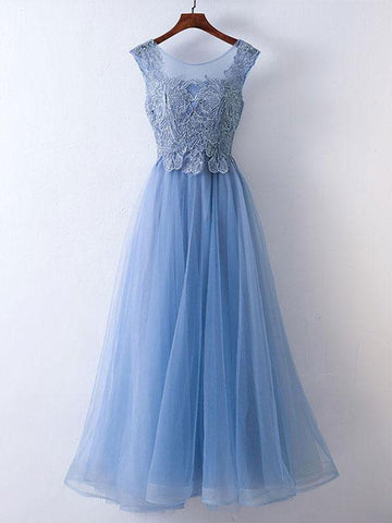 Chic A-line Prom Dresses Long Modest Blue Cheap Prom Dress Evening Dresses JX124