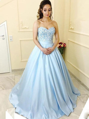 Chic A-line Prom Dresses Long Modest Blue Cheap Prom Dress Evening Dresses JX125