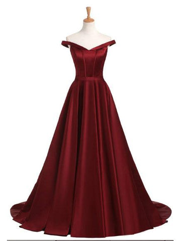 Chic A-line Prom Dresses Long Burgundy Cheap Simple Prom Dress Evening Dresses JX126