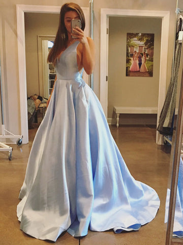 Chic Simple Prom Dresses Long Light Sky Blue A-line V neck Prom Dress Evening Dresses JX131