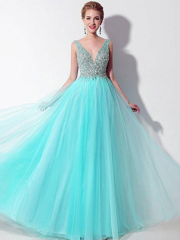 Chic Modest Prom Dresses Long A-line V neck Cheap Prom Dress Evening Dresses JX132