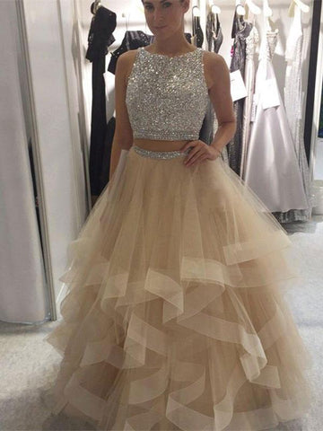 Chic Two Pieces Prom Dresses Long A-line Scoop Prom Dress Evening Dresses With Beading JX136