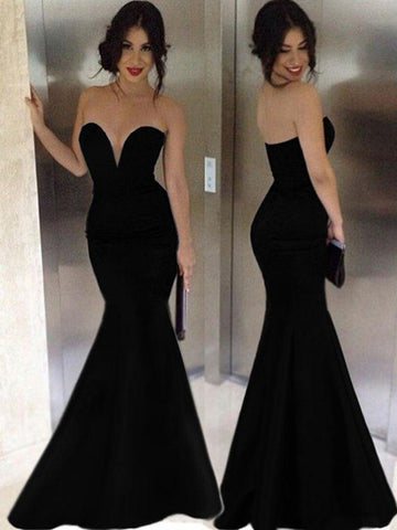 black prom dresses, Trumpet/Mermaid Sweetheart Floor-length Satin Prom Dress/Evening Dress #MK003