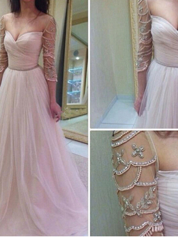prom dresses long, A-line Sweetheart Floor-length Tulle Prom Dress Evening Dress MK012