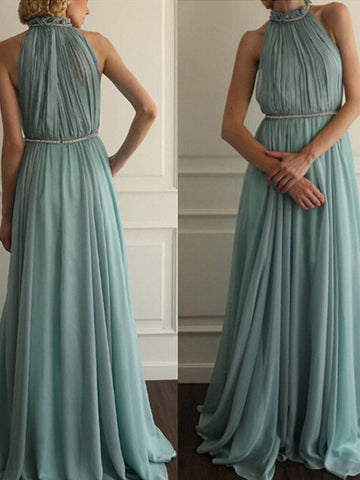 simple prom dresses, A-line Scoop Floor-length Chiffon Prom Dress/Evening Dress #MK015