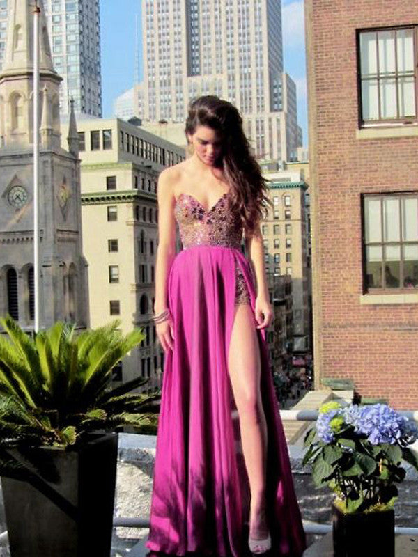 sexy prom dresses, A-line Sweetheart Floor-length Chiffon Prom Dress/Evening Dress #MK017