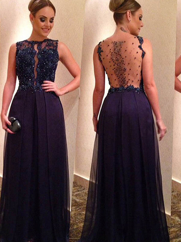 prom dresses high low, A-line Bateau Floor-length Chiffon Prom Dress/Evening Dress #MK018