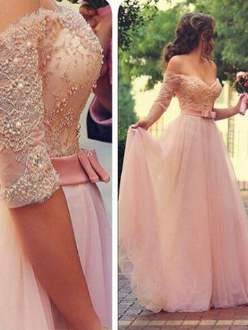 sexy prom dresses, A-line Off-the-shoulder Floor-length Tulle Prom Dress/Evening Dress #MK027