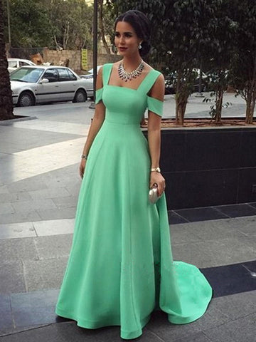 Simple prom dresses, A-line Straps Floor-length Satin Prom Dress/Evening Dress #MK028