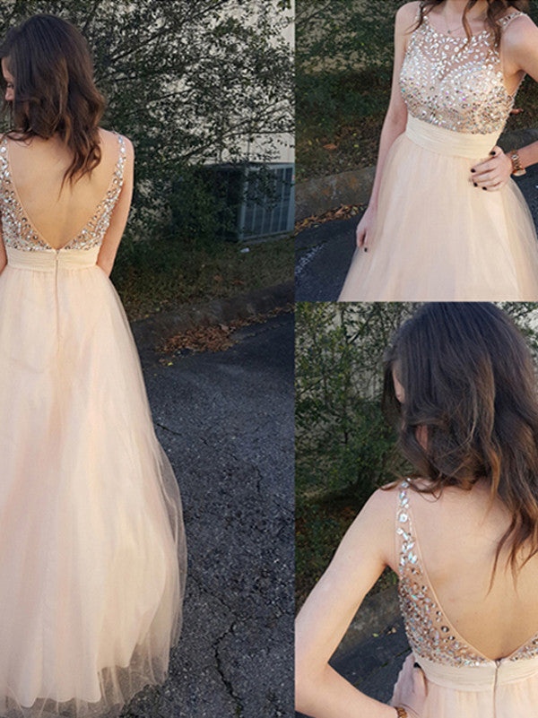 elegant prom dresses, A-line Scoop Floor-length Tulle Prom Dress/Evening Dress #MK029