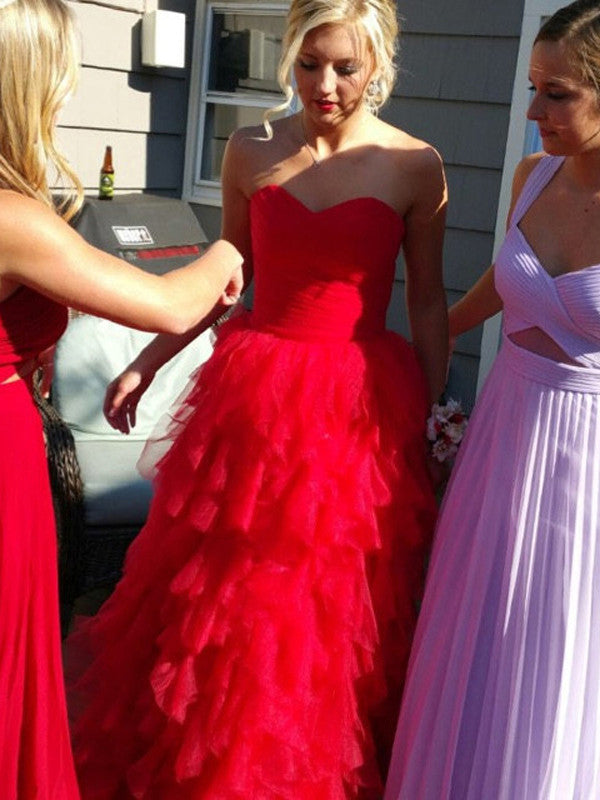 prom dresses red, A-line Sweetheart Floor-length Tulle Prom Dress/Evening Dress #MK030