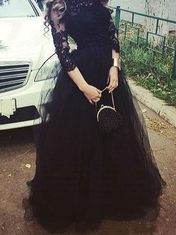 Black prom dresses, A-line Bateau Floor-length Tulle Prom Dress Evening Dress MK037