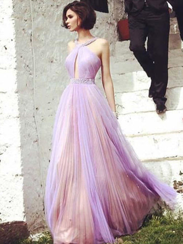 country prom dresses, A-line Halter Floor-length Tulle Prom Dress Evening Dress MK041
