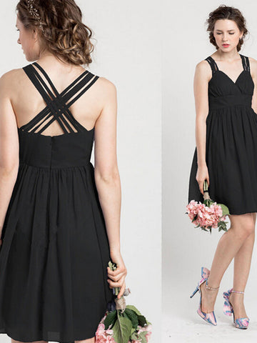 black prom dresses, A-line Straps Short/Mini Chiffon Bridesmaid Dresses #MK043