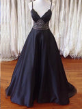 Long prom dress, Simple V-neck Spaghetti Straps Prom Dress Evening Dress MK0502
