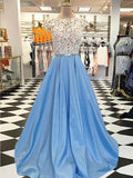 Mermaid prom dress, ?Lace Short Sleeve Long Prom Dress Evening Dress MK0504