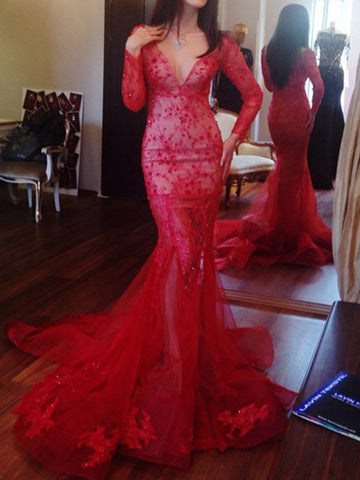 Gorgeous prom dress Beading Appliques V-neck 2017 Long Prom Dress Evening Dress MK0505