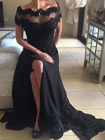 Black prom dress, ?Lace Off-the-shoulder Scoop 2017 Long Prom Dress Evening Dress MK0506