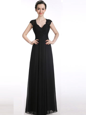 Chiffon prom dress, A-line Short Sleeve Scoop 2017 Long Prom Dress Evening Dress MK0509