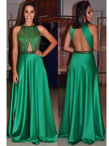Hunter prom dress, A-line Backless Sexy Backless Long Prom Dress Evening Dress MK0511