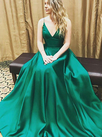 A-line  prom dress, V-neck Simple Long Prom Dress Evening Dress