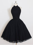 Short prom dress,  Simple Black Halter Short Prom Dress Homecoming Dress MK0515